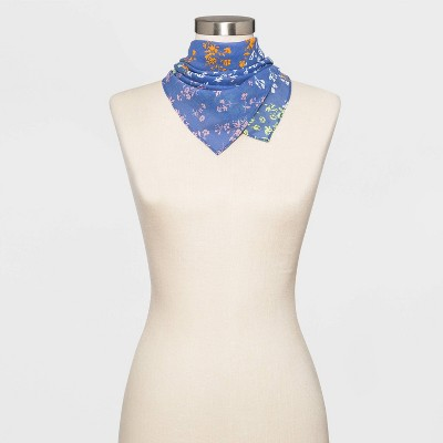 Women's Patchwork Plaid Bandana Scarf - Wild Fable™ Blue