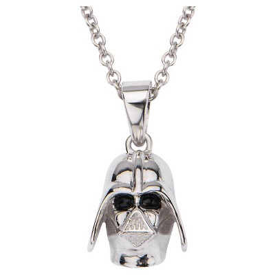 """Women's  'Star Wars' Darth Vader 925 Sterling Silver Pendant with Chain (18"""")"""