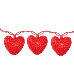 Northlight 10ct Valentines Day Heart Holiday Lights, 7.5ft Red Wire