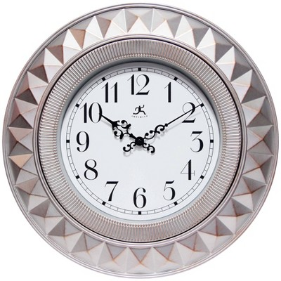"17.75"" Elegance Round Wall Clock Gray - Infinity Instruments"