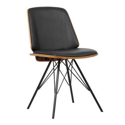 Inez Mid-Century Dining Chair in Black Faux Leather with Black Powder Coated Metal Legs and Walnut Veneer Back - Armen Living