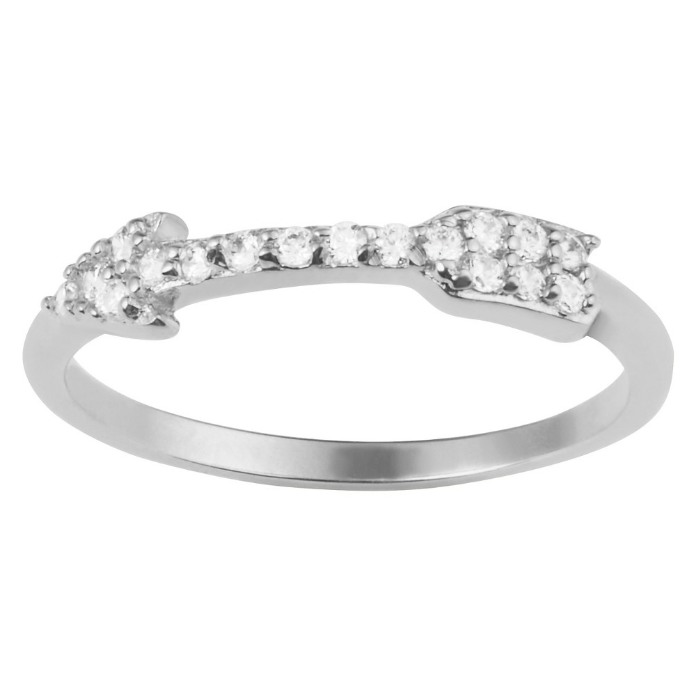 4 1/2 CT. T.W. Round-Cut CZ Pave Set Arrow Ring in Sterling Silver - Silver, 8, Girl's
