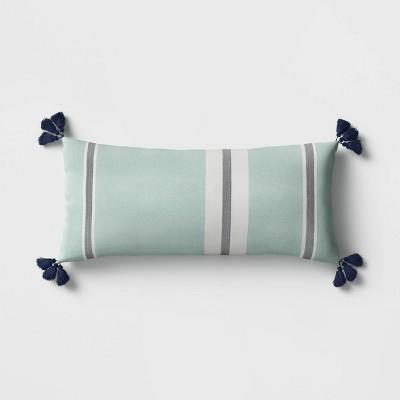 Stripe Tasseled Outdoor Lumbar Throw Pillow Aqua - Threshold™