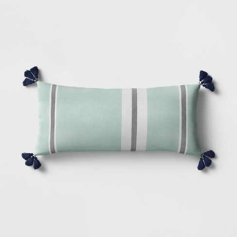 Stripe Tasseled Outdoor Lumbar Throw Pillow Aqua Threshold Target