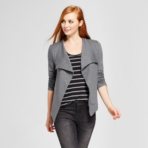Women's Drape Front Jacket - Mossimo™ Gray XS - image 1 of 2