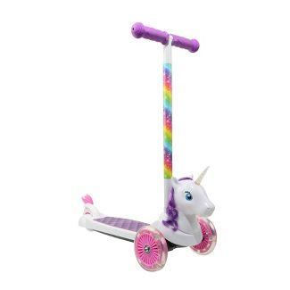 Sakar Unicorn 3D 3 Wheel Scooter - White/Pink/Purple