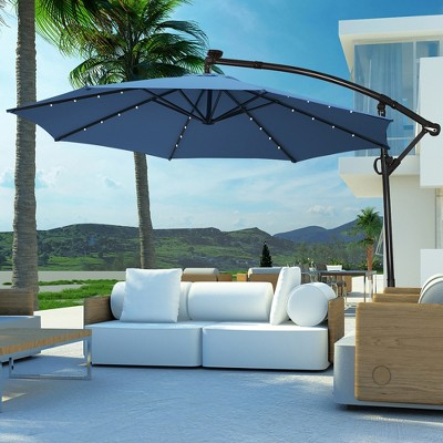 Costway 10FT Patio Offset Umbrella Solar Powered LED 360Degree Rotation Aluminum Blue
