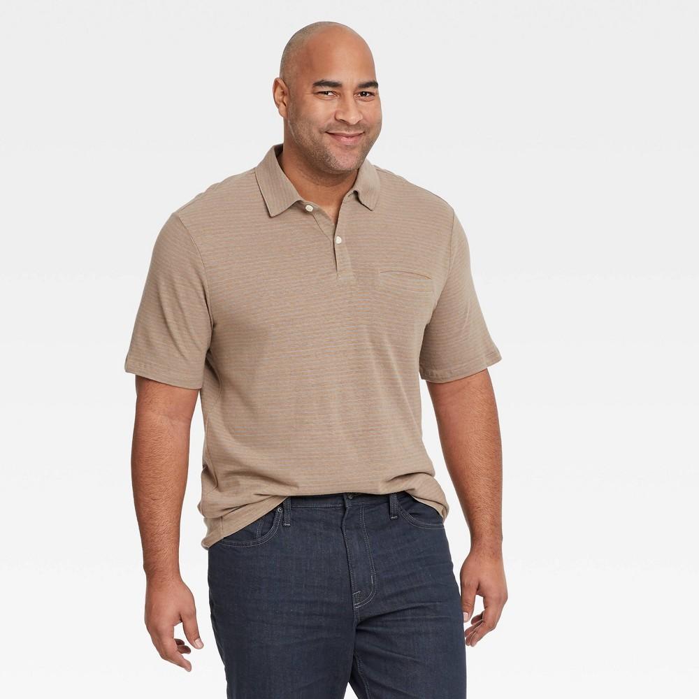 Men 39 S Big 38 Tall Striped Short Sleeve Collared Polo Shirt Goodfellow 38 Co 8482 Tan 5xb