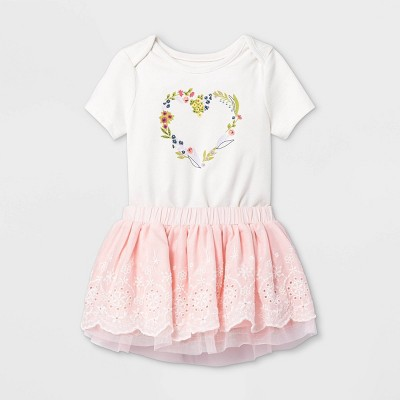 Baby Girls' Eyelet Short Sleeve Bodysuit & Skirt Set - Cat & Jack™ Cream 0-3M