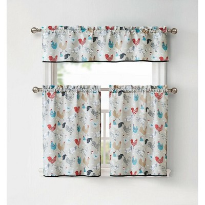 Kate Aurora Multi Rooster Complete 3 Pc Kitchen Curtain Tier & Valance Set