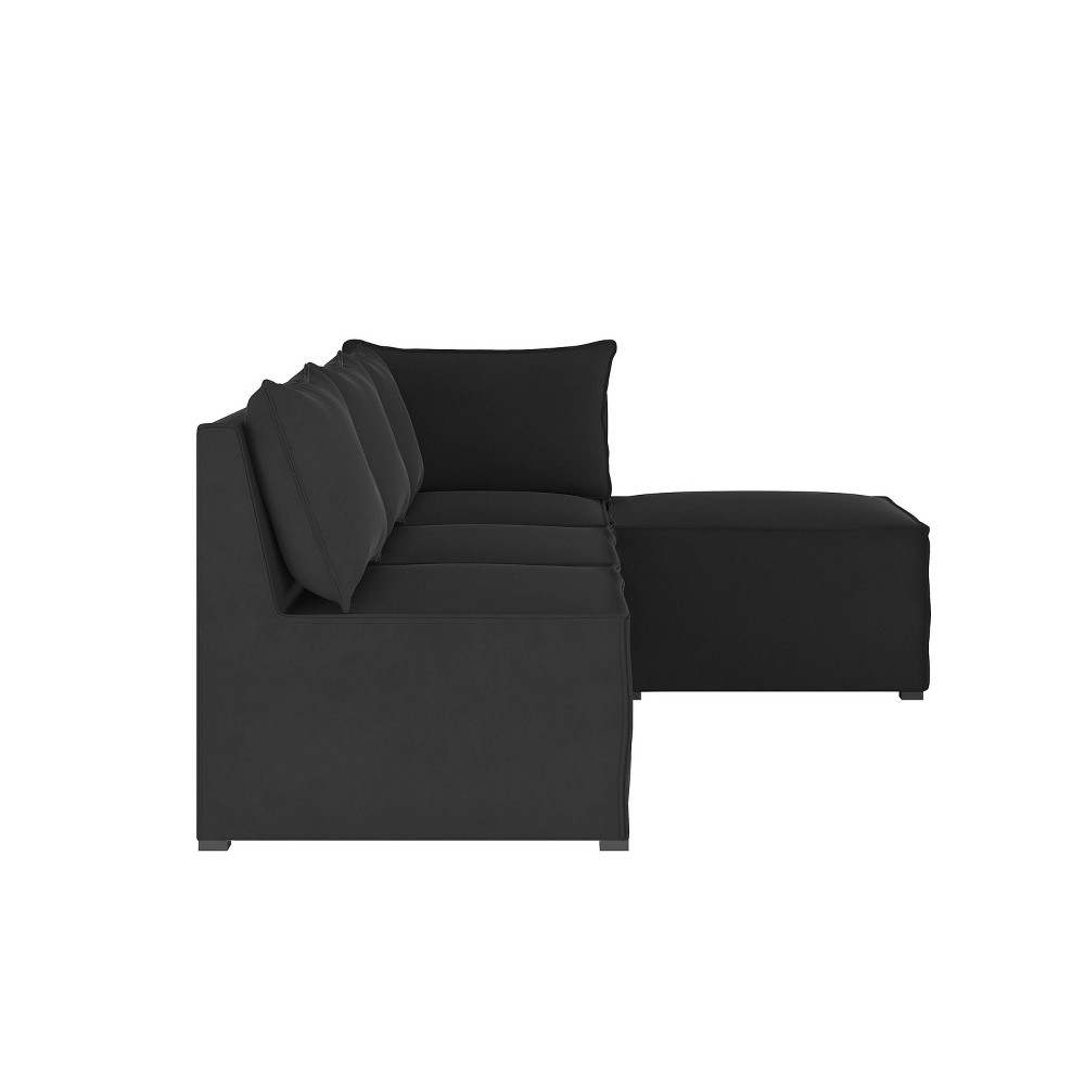 Image of 4pc French Seamed Sectional Velvet Black - Project 62