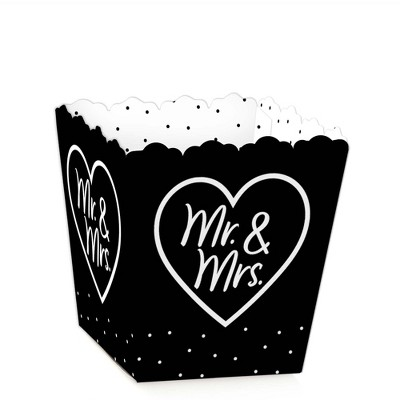 Big Dot of Happiness Mr. and Mrs. - Party Mini Favor Boxes - Black and White Wedding or Bridal Shower Treat Candy Boxes - Set of 12