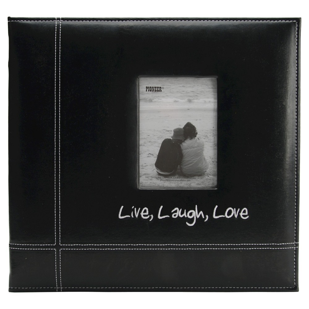Image of Live, Laugh & Love Embroidered Leatherette Album - Black