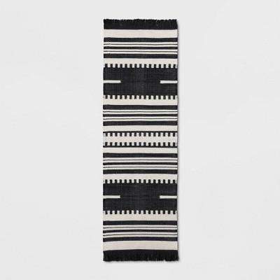 2'4 X7' Stripe Woven Runner Rug Black - Opalhouse™