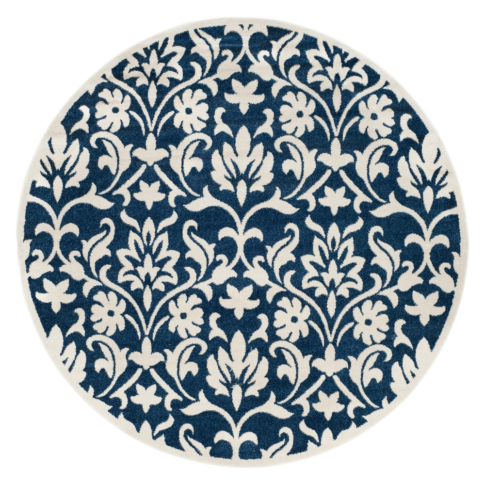 Chartres 7' Round Outdoor Rug Navy/Ivory (Blue/Ivory) - Safavieh