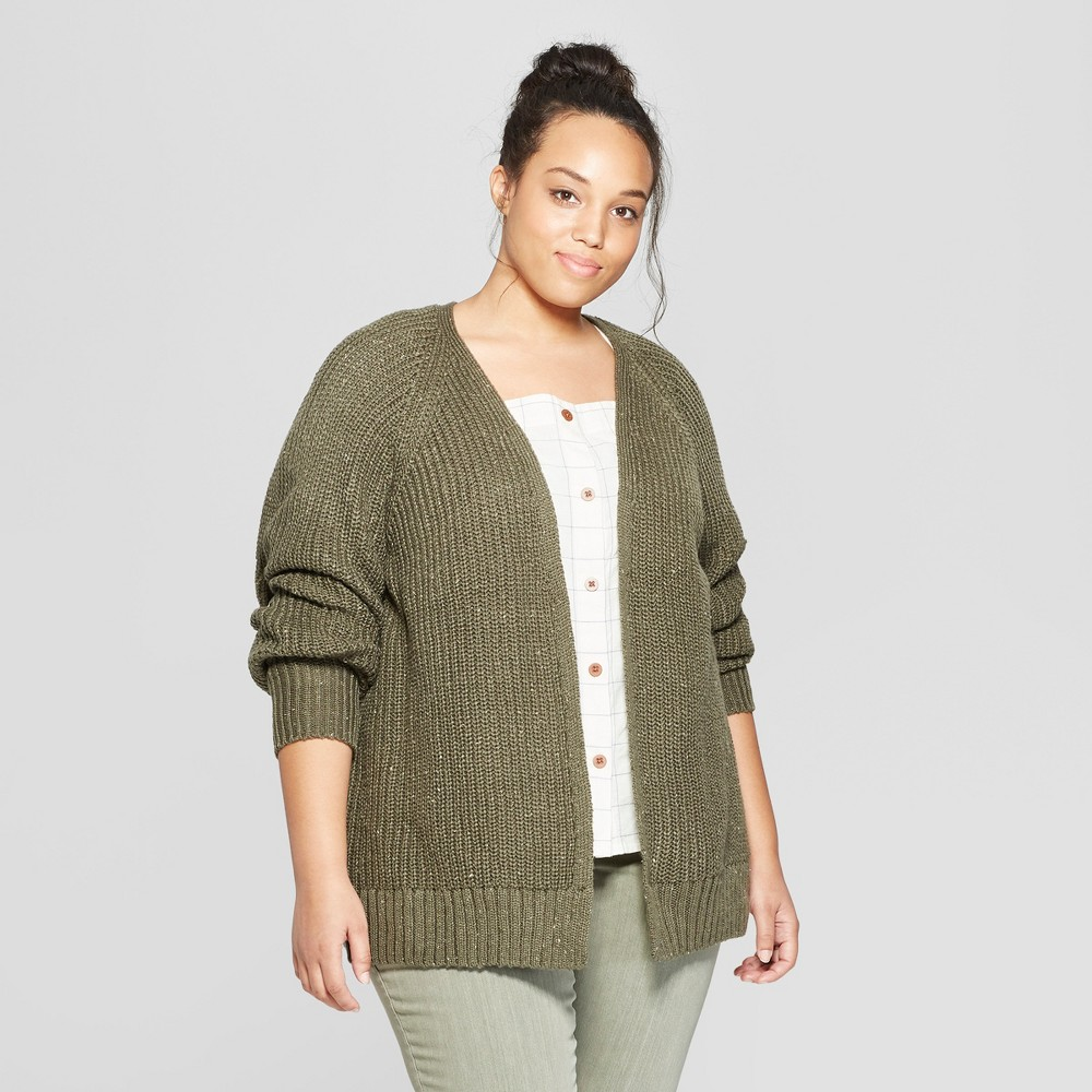 Women's Plus Size Long Sleeve Relaxed Open Layering - Universal Thread Olive (Green) X