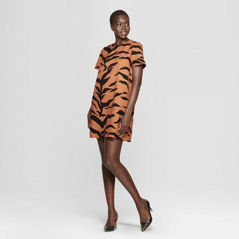 4f2bda1c16 Women s Tiger Print Short Sleeve A-Line Mini Dress - Who What Wear™ Yellow
