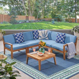 Grenada 6pc Acacia Sectional Sofa Set Teak/Blue - Christopher Knight Home