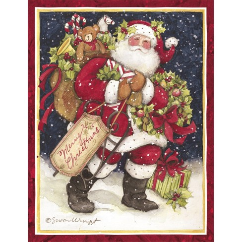 18ct Snowy Night Santa Holiday Boxed Cards - image 1 of 1