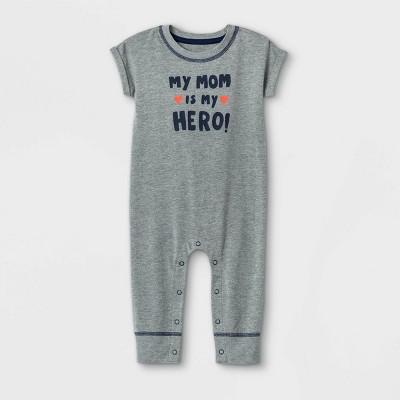 Baby 'Mom is my Hero' Short Sleeve Romper - Cat & Jack™ Gray 3-6M