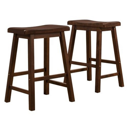 Vinton Saddle Seat Stools (Set of 2) Walnut - Inspire Q - image 1 of 5
