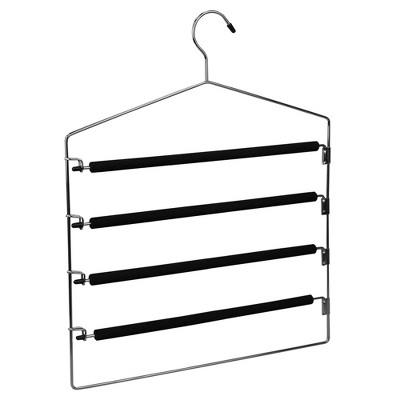 Home Basics 4 Tier Swinging Arm  Steel Pants Hanger with Soft Grip Foam Coated Rods, Black