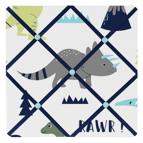 "13""x13"" Mod Dinosaur Photo Memo Board Blue/Green - Sweet Jojo Designs - image 1 of 2"