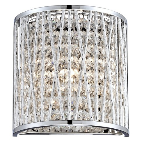"""Possini Euro Design Woven Modern Wall Light Sconce Chrome Hardwired 7 1/2"""" High Fixture Crystal Accents Bedroom Bathroom Hallway - image 1 of 4"""