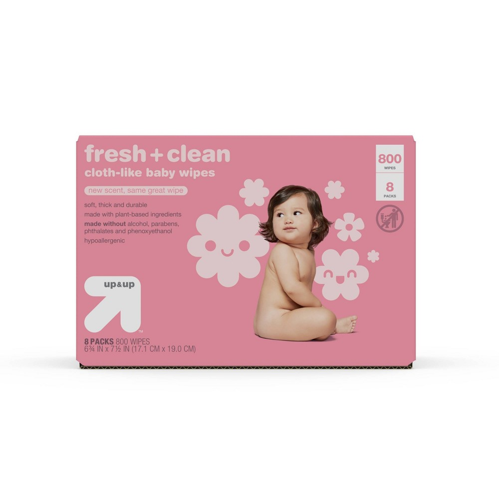 Fresh 38 Clean Scented Baby Wipes Refill Pack 8pk 800ct Total Up 38 Up 8482