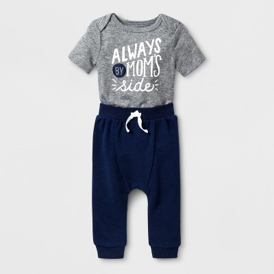 Baby Boys' 2pc Short Sleeve Bodysuit and Jogger Set - Cat & Jack™ Gray/Blue 0-3M