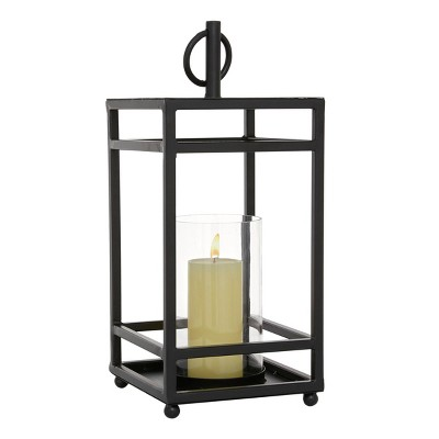 """18.5"""" x 8"""" Round Glass/Metal Candle Holder Black - Olivia & May"""