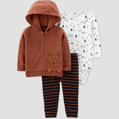 Baby Boys' Fox Cardigan Top & Bottom Set - Just One You® made by carter's Brown Newborn