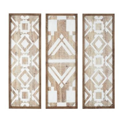 Set of 3 Gianna Wood Wall Decor Natural