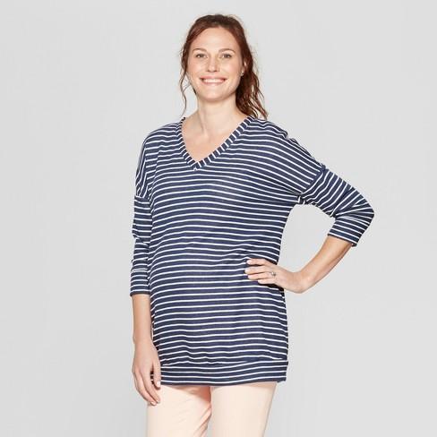 Maternity Striped 3/4 Sleeve Sweatshirt - Isabel Maternity by Ingrid & Isabel™ Navy - image 1 of 2