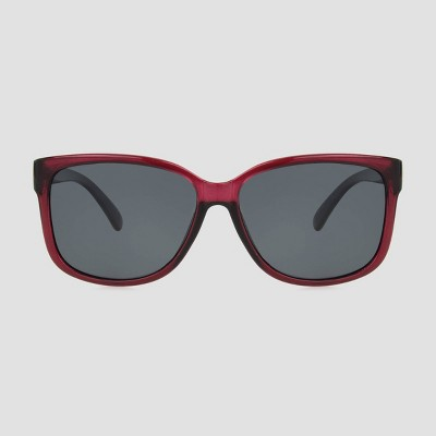 Women's Square Crystal Sunglasses with Smoke Polarized Lenses - A New Day™ Burgundy