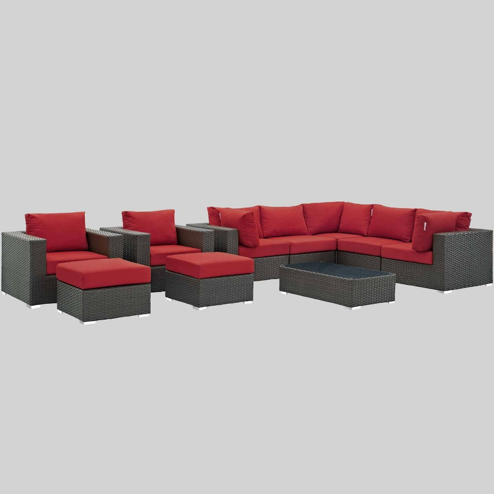 Sojourn 10pc Outdoor Patio Sectional Set with Sunbrella Fabric - Red - Modway