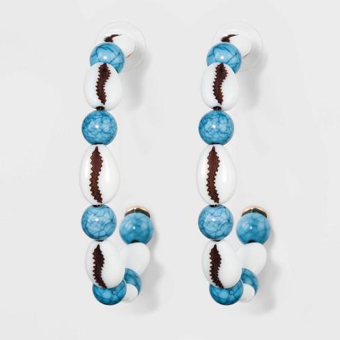 SUGARFIX by BaubleBar Shells Beaded Hoop Earrings - Aqua