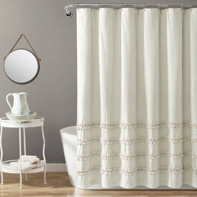 Vintage Stripe Yarn Dyed Cotton Shower Curtain Neutral/White - Lush Décor