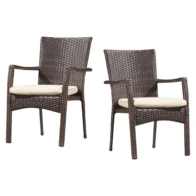 Corsica Set of 2 Wicker Dining Chair with Cushions - Christopher Knight Home