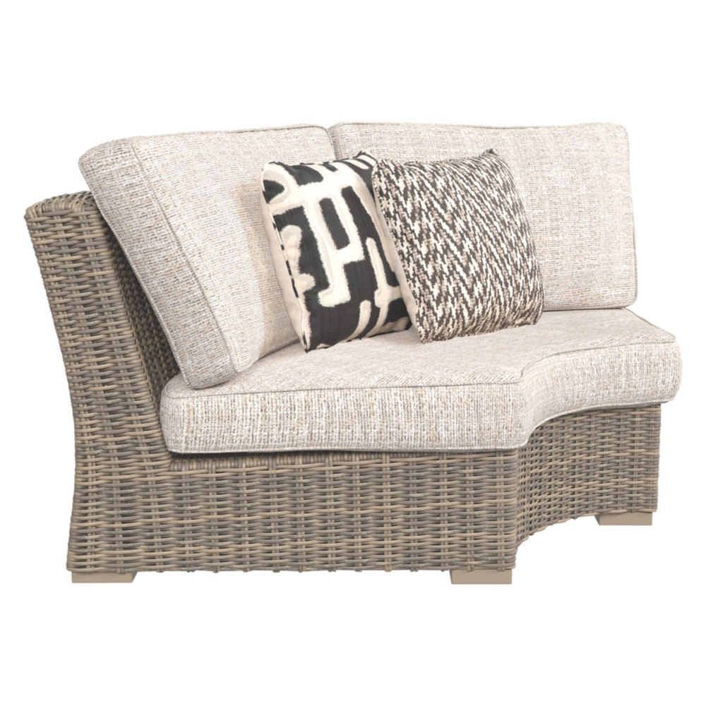 Image of Beachcroft Curved Corner Chair with Cushion - Beige - Outdoor by Ashley