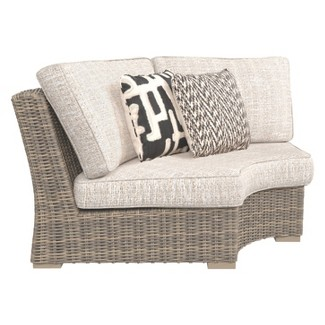 Beachcroft Curved Corner Chair with Cushion - Beige  - Outdoor by Ashley