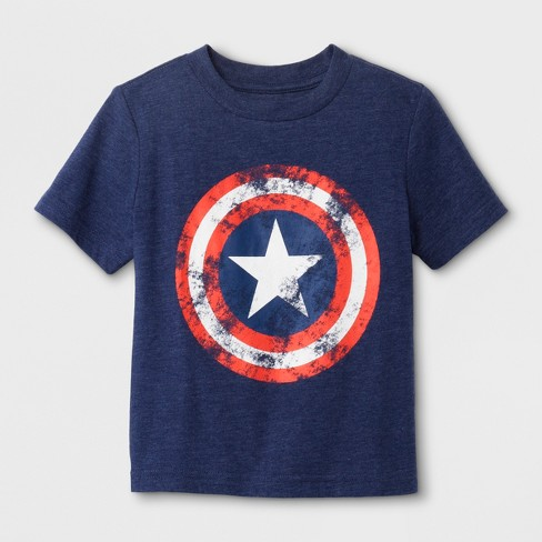 Toddler Boys' Marvel Captain America Shield Short Sleeve T-Shirt - Navy