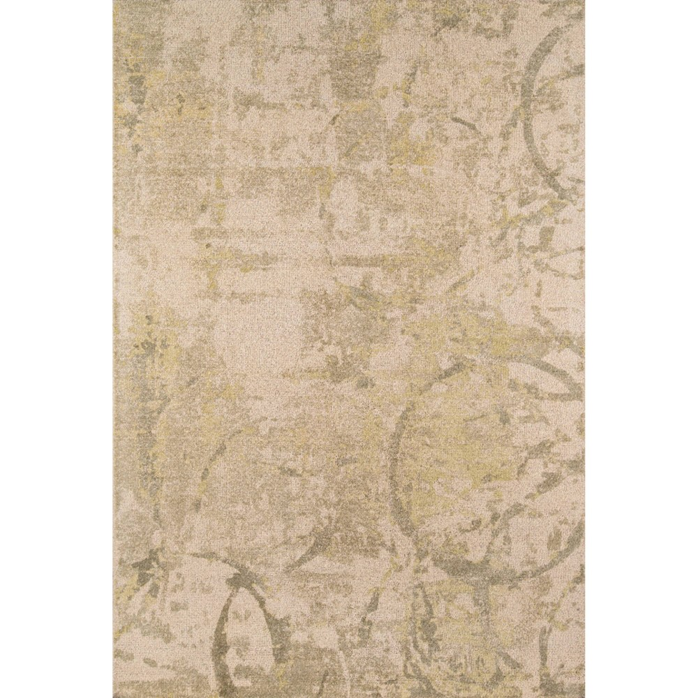 Olive Green Shapes Tufted and Hooked Area Rug 7'6