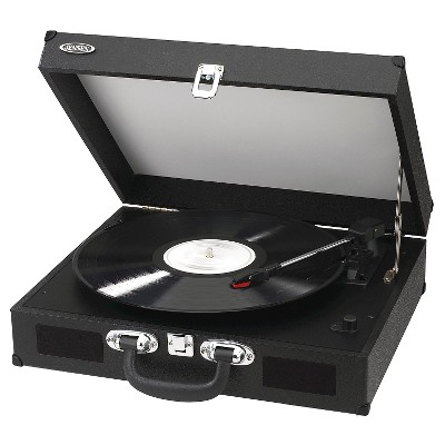 JENSEN Portable 3-Speed Stereo Turntable with Built-in Speakers - Black (JTA-410 )