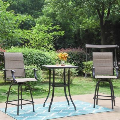 3pc Outdoor Swivel Bar Height Stools & Table - Captiva Designs