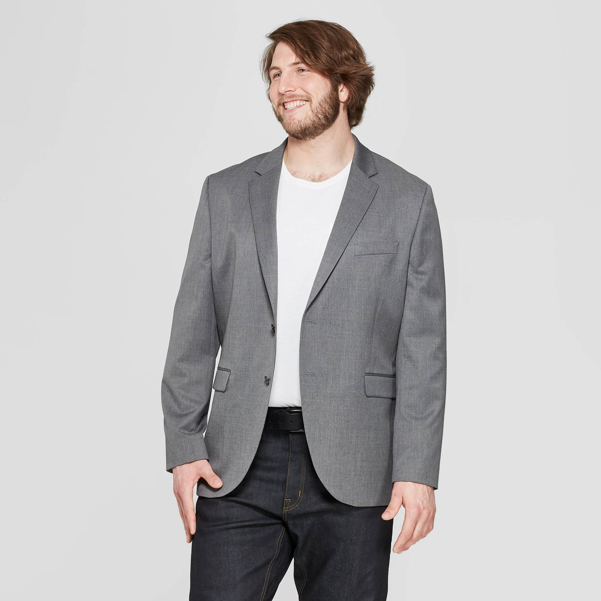 Men's Big & Tall Standard Fit Suit Jacket - Goodfellow & Co Thundering Gray 44L