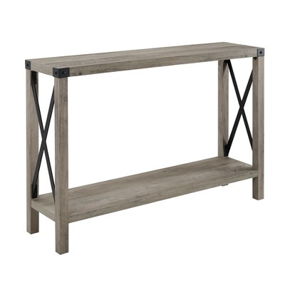 46  Urban Industrial Farmhouse Metal X Entry Table Gray Wash - Saracina Home