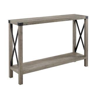 46u0022 Urban Industrial Farmhouse Metal X Entry Table Rustic Oak - Saracina Home