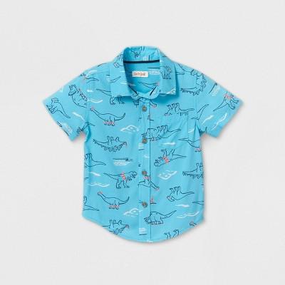Toddler Boys' Short Sleeve Dinosaur Button-Down Shirt - Cat & Jack™ Blue 3T