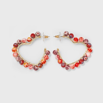 SUGARFIX by BaubleBar Beaded Heart Hoop Earrings - Red